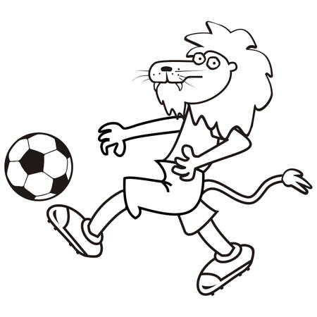 lion and soccer ball, coloring book for children, vector humorous illustration