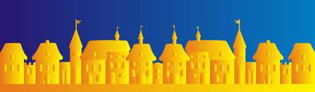 golden town on blue background, vector illustration, silhouette