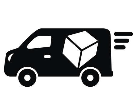 Van, black vector icon on white background 矢量图像