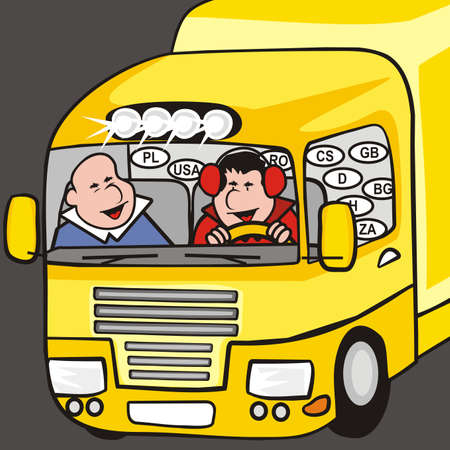yellow truck, cabin with two men, humorous vector illustration  イラスト・ベクター素材