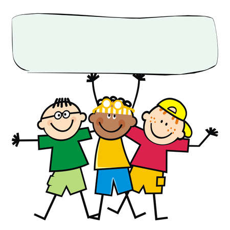Three happy boys with banner, vector illustration