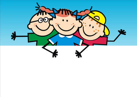 Three smiling kids with banner, two boys and one girl, funny vector illustration