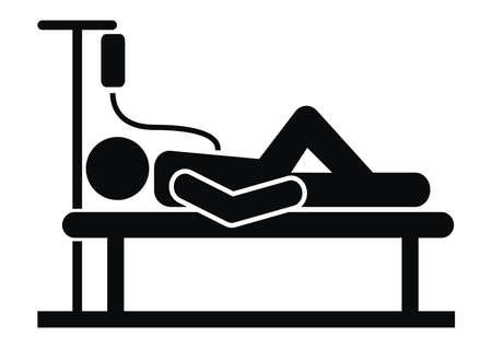 Person in hospital bed, infusion, black silhouette, vector icon. Vektoros illusztráció