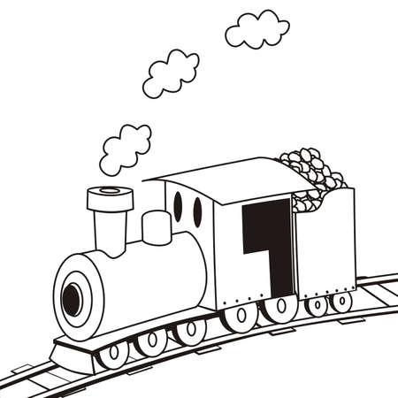 steam locomotive, coloring book, vector icon