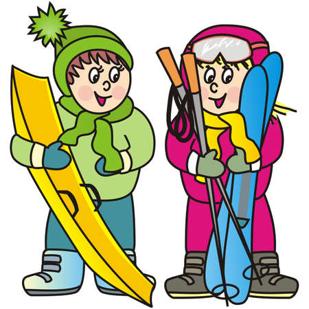 girl and boy, winter sports activity, vector illustration Illustration