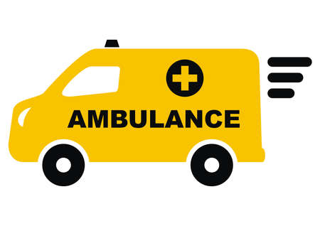 Ambulance, yellow van, vector icon