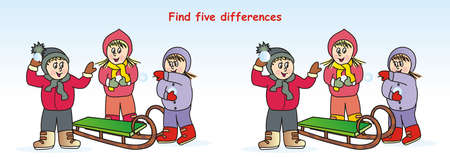 activity, find five differences, board game, vector icon Ilustracja