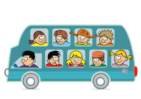 Bus full of people, humorous characters, vector illustration