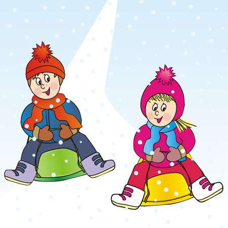 children and bobsled, girl and boy, vector illustration Illustration