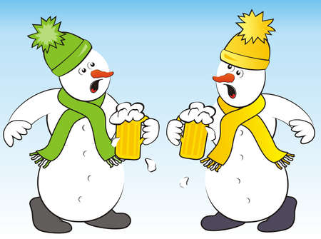 crazy snowmen and beer, humorous vector illustration