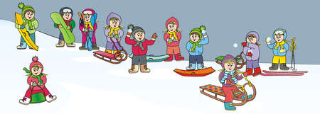 children on the hill, winter sports activity, vector illustration