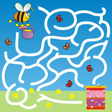 bee, labyrinth, board game, find right way, vector illustration