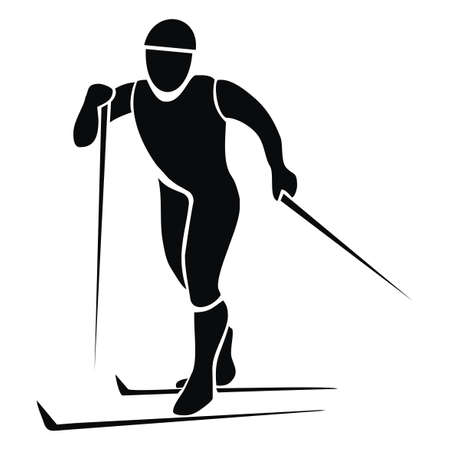cross-country skier, black silhouette, vector icon Illustration