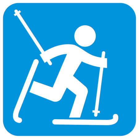 cross-country skier, white silhouette at blue frame, vector icon Illustration