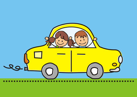Girl and boy at car, color vector funny illustration on blue background