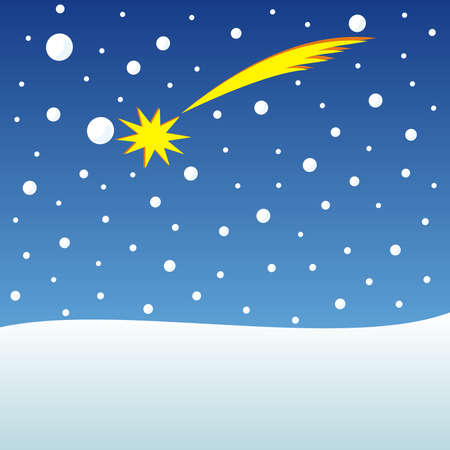 Christmas card, comet in the snowy sky, conceptual vector illustration Illustration