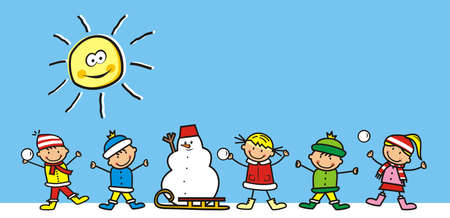 Happy kids in winter with snowman and sled, cute vector illustration