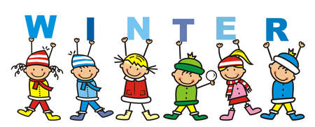 Six little kids with banner, text winter, vector illustration