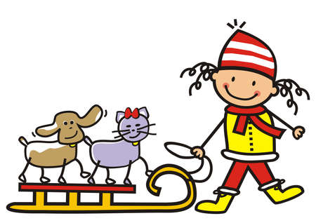 Girl with dog and cat with sledge, humorous vector illustration Illustration