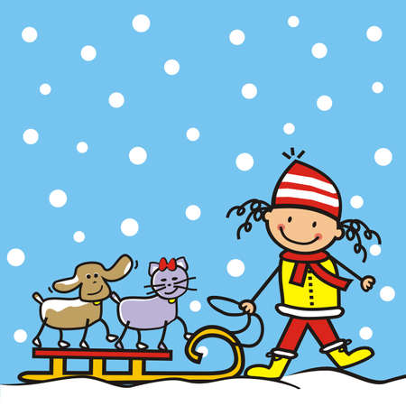 Girl with dog and cat with sledge, at blue sky background with snowflakes, humorous vector illustration