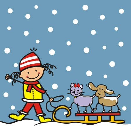 Girl with dog and cat on sledge, at blue sky background with snowflakes, humorous vector illustration