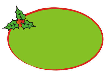Christmas card, ellipse frame, vector conceptual illustration