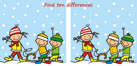 kids on a sledge, find ten differences, vector illustration