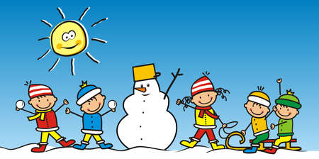 Five little kids with snowman, winter leisure activities, cute vector illustration Illustration