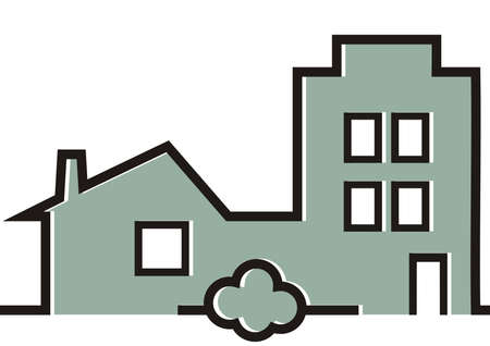 Modern house, greenery, gray vector icon, silhouette