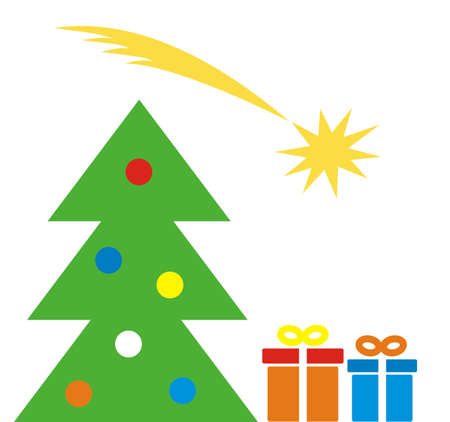 Christmas tree, comet and gifts, vector icon Illustration