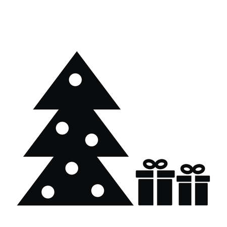 Christmas tree and gifts, black and white vector icon Illustration