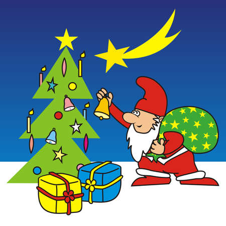 Merry Christmas, Santa Claus and tree with gifts, vector illustration
