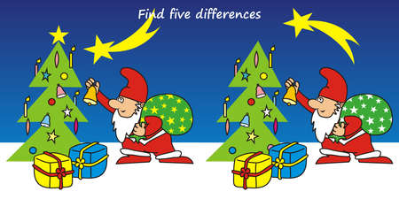 Find five differences, board game for children, Santa Claus and Christmas tree, vector illustration
