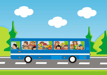 bus and children, road trip, vector icon