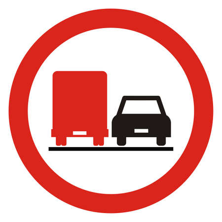 No overtaking for trucks. Road traffic sign, vector icon.