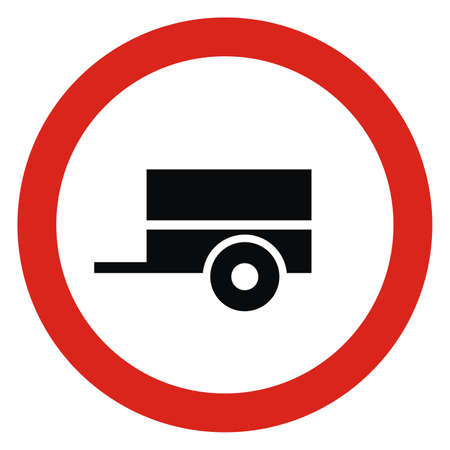 no entry of motor vehicles with a trailer, road sign, vector icon