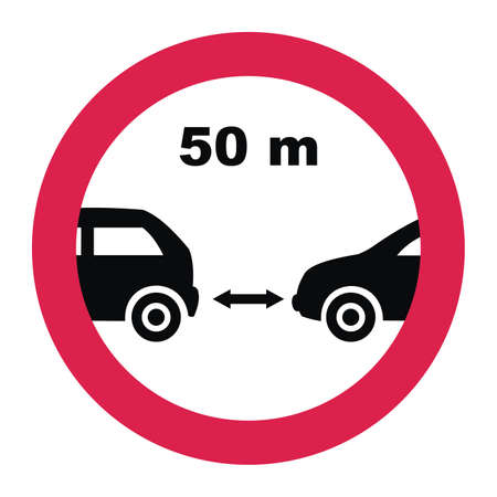 Drivers must maintain a safe minimum distance between their vehicles as 50 meters, traffic sign, vector