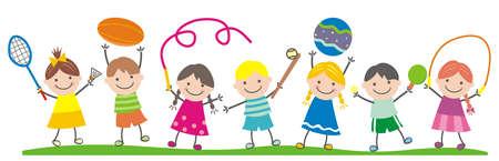 group of children, sports equipment, vector illustration