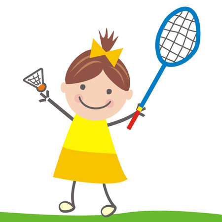 Girl and badminton, cute vector illustration Illustration