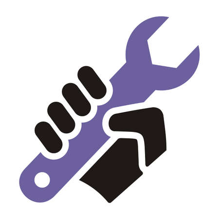 installation, hand with wrench, vector icon Illustration