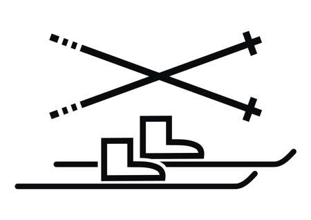 Skiing equipment, black vector icon on white background