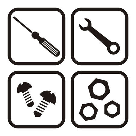 Set of icons, bolts, nuts, screwdriver and wrench, vector
