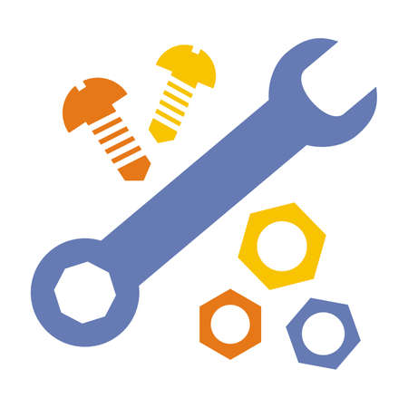 hardware, set of tool, nut, wrench and screw, color vector icon