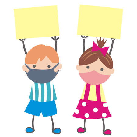 boy and girl at mask with banner, conceptual vector illustration