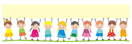 Happy children and banner, group of kids on white background, vector funny illustration.