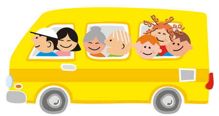 Big family at car, funny vector illustration Illustration