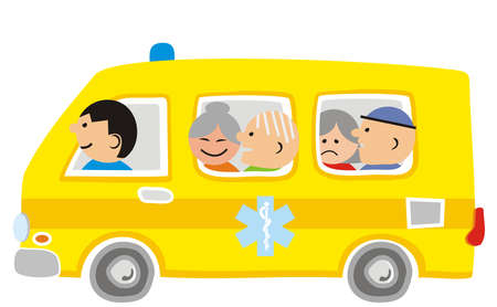 Charity car, seniors, vector illustration