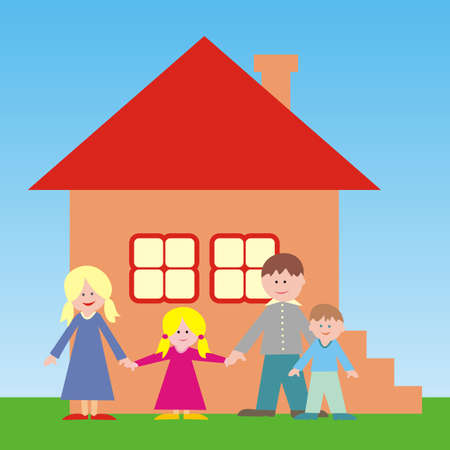 New housing, young family front house, vector illustration