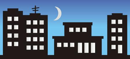 housing estate, night town, vector illustration