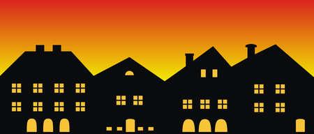 Cityscape, sunset or sunrise, vector illustration